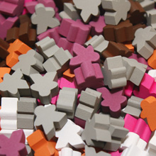Multi Pack of Expansion Color Mini Meeples (12mm) - Purple, Pink, Orange, Grey, Brown, and White
