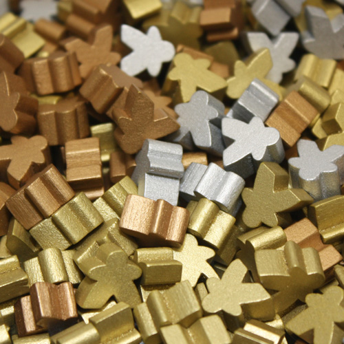 Multi Pack of Metallic Color Mini Meeples (12mm) - Gold, Silver, and Copper