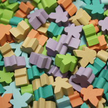 Multi Pack of Soft/Pastel Color Mini Meeples (12mm) - Turquoise, Tan, Sky Blue, Salmon, Lime Green, and Lavender