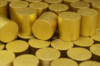 Metallic Gold Wooden Cylinders (15x15mm)