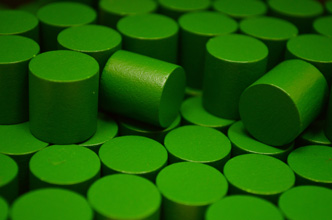 Green Wooden Cylinders (15x15mm)