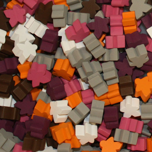 Multi Pack of Expansion Color Meeples (16mm) - Purple, Pink, Orange, Grey, Brown, and White