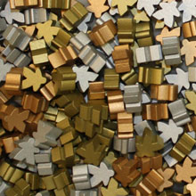 Multi Pack of Metallic Color Meeples (16mm) - Gold, Silver, and Copper