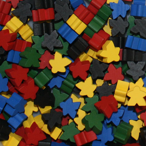 Multi Pack of Original Color Meeples (16mm) - Red, Yellow, Green, Blue, and Black