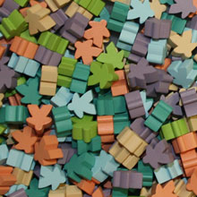 Multi Pack of Soft/Pastel Color Meeples (16mm) - Turquoise, Tan, Sky Blue, Salmon, Lime Green, and Lavender