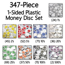 Numbered Plastic Money Discs (347 Piece Set) - (1-sided, 22mm) - LAST FEW!