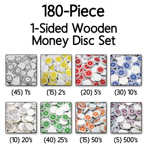 Numbered Wooden Money Discs (180 Piece Set) - (1-sided, 22mm) - LAST FEW!