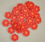 Numbered Mini Poker Chips - Red 20's (10 pcs)