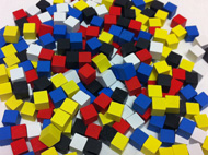 Set of 250 Cubes (8mm - Red, Yellow, Blue, Black, and White)