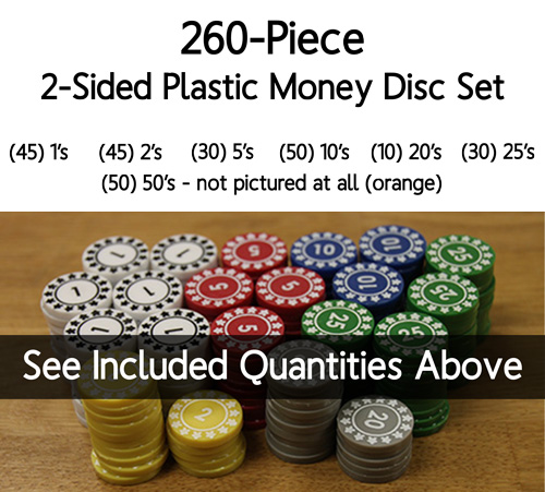 Numbered Plastic Money Discs (260 Piece Set) - (2-sided, 22mm) - LAST FEW!