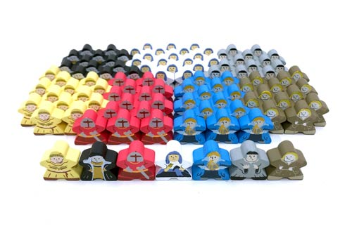 104-piece Character Meeple Set, perfect for Orleans (4 players)