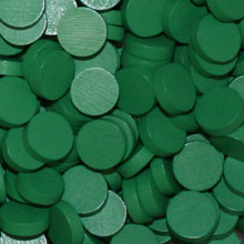 Green Wooden Discs (15mm x 4mm)