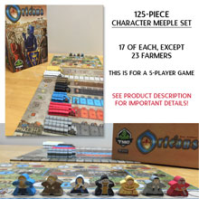 125-piece Character Meeple Set, perfect for Orleans (5 players)