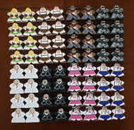 Soldiers, Outlaws, German Boys and Girls, Nerd Boys and Girls, Brides & Grooms (64-piece MegaMeeple Set - 8 of each type)