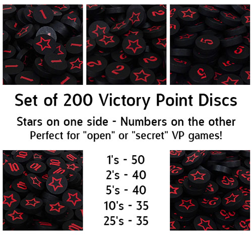 Black Victory Point Discs (200 Piece Set) - (star on one side, number on the other, 15mm)