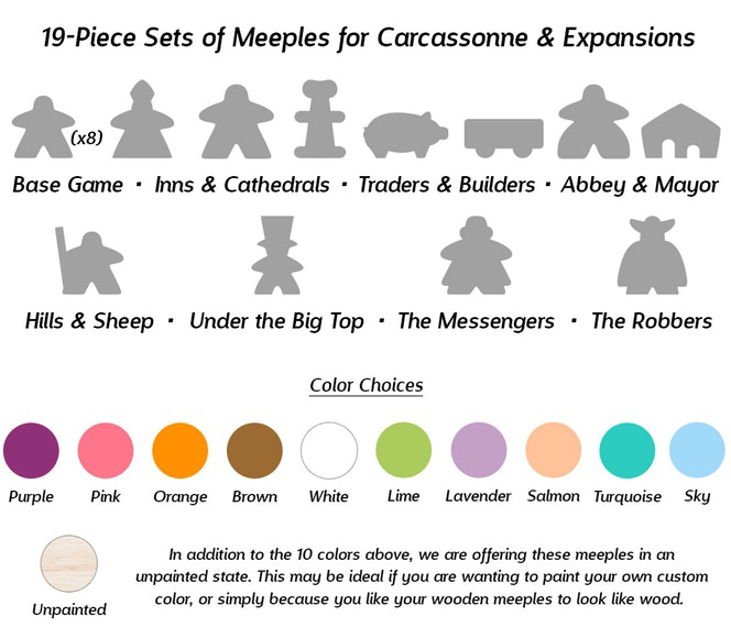 19-Piece Set of Unpainted Meeples (Compatible with Carcassonne & Expansions)