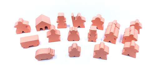 19-Piece Set of Salmon Meeples (Compatible with Carcassonne & Expansions)