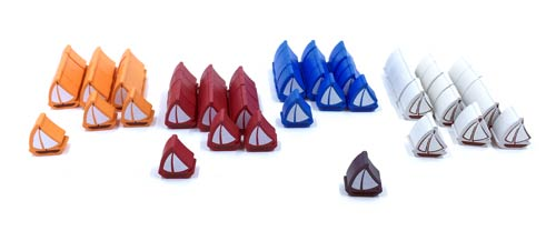 61 Piece 4 Player Set Of Small Boats Compatible With Catan Seafarers