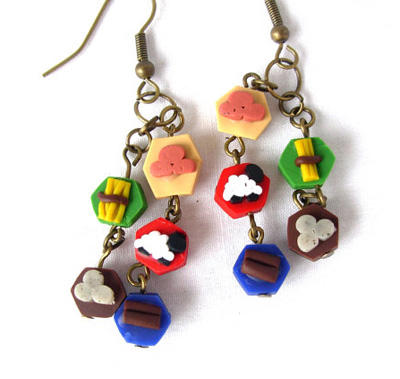 Polymer Clay Settlers of Catan Earrings