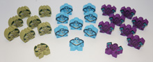 8-of-each of all 3 Cthulhu Character Meeples from Kickstarter (24 pcs)