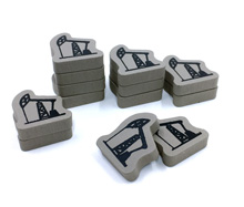 12-Piece Set of Oil Well Tokens for The Manhattan Project: Energy Empire