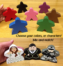Giant Meeple 5 Piece Set (3 inches tall) - Choose your colors/characters!
