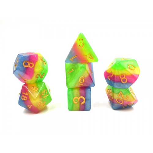 7-piece Green Yellow Rose and Blue Layered Dice Set