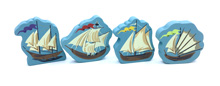 4-Piece Set of Giant Boats (45-50mm tall) for Islebound