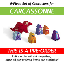 6-Piece Set of Custom Shaped Character Meeples (Compatible with Carcassonne Expansions) (Kickstarter Pre-Order)