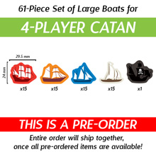 61-Piece 4-Player Set of Large Boats (Compatible with Catan: Seafarers) (Kickstarter Pre-Order)