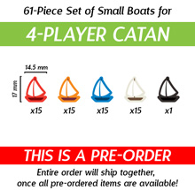 61-Piece 4-Player Set of Small Boats (Compatible with Catan: Seafarers) (Kickstarter Pre-Order)