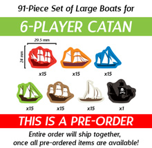 91-Piece 6-Player Set of Large Boats (Compatible with Catan: Seafarers) (Kickstarter Pre-Order)