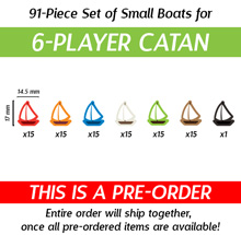 91-Piece 6-Player Set of Small Boats (Compatible with Catan: Seafarers) (Kickstarter Pre-Order)