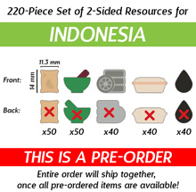 220-Piece Set of Small 2-Sided Resources for Indonesia (Kickstarter Pre-Order)
