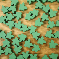 Bulk Green Misfit Meeples (16mm) - Bag of 500!