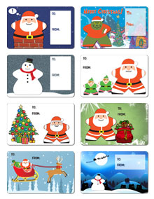 Sheet of 8 Large Christmas Gift Labels
