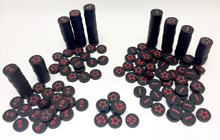Black Victory Point Discs (200 Piece Set) - (star on one side, number on the other, 15mm) - DISCONTINUED!