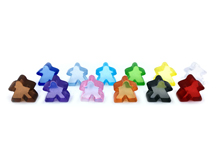 Sampler Pack of (Translucent) Acrylic Mini Meeples (12mm) - 1-of-each of 12 colors!