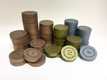 Numbered Metallic Coins (Made of Wood)
