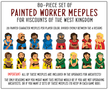 PRE-ORDER: 80-piece Set of Worker Meeples for Viscounts of the West Kingdom - estimated ship date October 2020