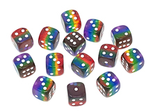 Transparent D6 Rainbow Dice (16mm)