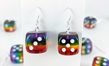 Transparent Rainbow Dice Earrings (1 pair, sterling silver hooks)