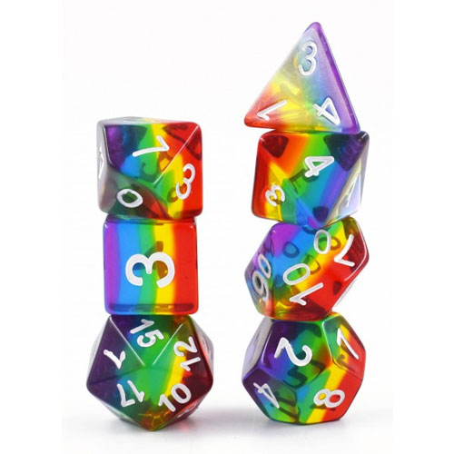 7-piece Transparent Rainbow Dice Set