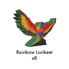 PRE-ORDER: Rainbow Lorikeet Meeples (8-pc set)