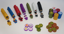 Complete Set for Scythe (82 pcs) - 56 worker meeples, 7 action tokens, 11 encounter tokens, 8 expansion tokens!
