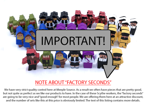 FACTORY SECONDS: Full Set of Worker Meeples for Scythe and Invaders From Afar (56 pcs)