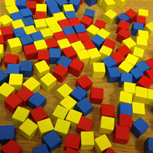 Set of 150 Cubes (8mm - Red, Yellow, and Blue)