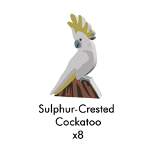PRE-ORDER: Sulphur-Crested Cockatoo Meeples (8-pc set)