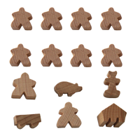 Set of 14 Meeples (8 Meeples, 1 MegaMeeple, 1 Builder, 1 Pig, 1 Mayor, 1 Cart, 1 Barn)