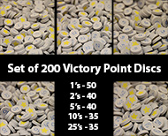 Grey Victory Point Discs (200 Piece Set) - (star on one side, number on the other, 15mm)